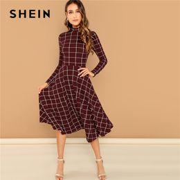 SHEIN Burgundy Elegant Office Lady Plaid Print High Neck Fit And Flare Long  Sleeve Dress Autumn Workwear Fashion Women Dresses 9f519b8fa35f