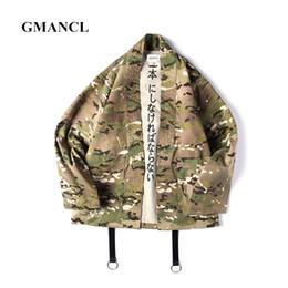 Japanese Styled Jackets Canada - GMANCL Japanese Style 3 color Camouflage Oversized Men Jackets Open Stitch Kimono Jacket Cotton Hip Hop Streetwear Male Fashion