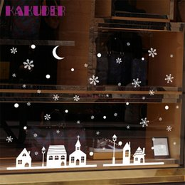 window stickers Australia - Window Stickers Christmas Shop Decoration Wall Stickers XMAS Snowflakes Town vinilos paredes u70821