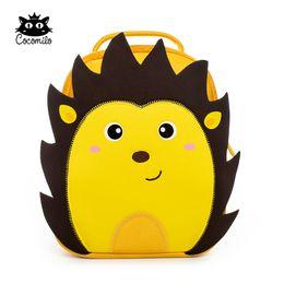 Backpack Zoo Canada - Cartoon 3D Hedgehog Kindergarten Zoo Animal Little Kids Small School Bag Light Lion Backpack 3-6 Years Girls Boys Toddler Bag Y18110107