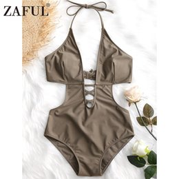 Großhandel Halfter Lattice Front One Piece Bademode Frauen Sexy Thong Bademode High Cut Badeanzug Lace-Up Halter Badeanzug Monokini
