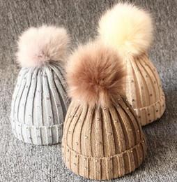 e441ea13ac8d0d 0-3 years baby warm hat diamond kids knitted Warm Winter Wool hat cap girl  boy kids faux fur pompom children beanies KKA6245