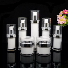 Discount acrylic cosmetic jar white - 15g 30g 50g Pear White Acrylic Vacuum Cream Jar Pot 15ml 30ml 50ml Airless Pump Spray bottle Atomizer Bottles Cosmetic P
