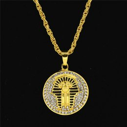 pharaoh pendants 2019 - Uodesign Gold color Alloy 70cm Chain Men Egyptian pharaoh Head Pendant Rhinestone Necklace HipHop Necklace Jewelry for M
