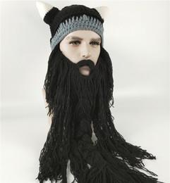 36d726a404431e Halloween Funny Men's Winter Hat Barbarian Vagabond Viking Beard Hat Horn  Handmade Mustache Braid Beanie Warm Wool Knitting Caps Mask 4Color