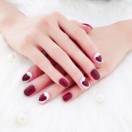 $enCountryForm.capitalKeyWord Australia - 24pcs Set Cute Heart Shaped Red French False Nails Handmade Mixed Red White Nail Art Decoration Fake Nails DIY Manicure Tools