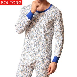 orange suits cotton Australia - Soutong 2017 New Fashion Printed Cotton Men Long Johns Men Thermal Underwear Sets Winter Warm Long Johns Suits Underpants qt02