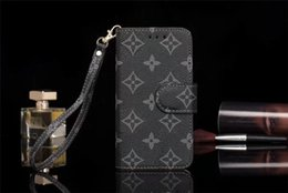 Chinese  For iPhone X 6 6s 7 8 8plus Luxury Grid Leather Flip Wallet Case for Galaxy S9 S9plus S8 S7 S6 edge Note9 Note8 Note5 Fashion Lanyard Case manufacturers