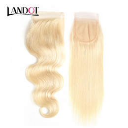 virgin chinese straight hair 2019 - Bleach Blonde Color 613# Virgin Human Hair Lace Closure 9A Brazilian Peruvian Malaysian Indian Cambodian Russian Body Wa