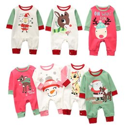 Santa Claus Girls Jumpsuit Australia - Christmas Baby Romper 7 Styles Santa Claus Xmas Printed Jumpsuits Lovely Kids Children Infant Climbing Clothes OOA5412