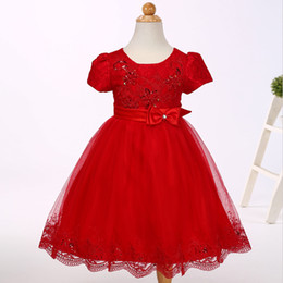 China The new baby clothes Baptism dresses Girl flowers set with diamonds Princess short sleeved dress with lace trim good workmanship cheap actual flower girl dress suppliers