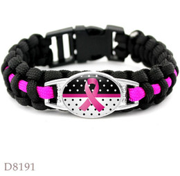 Breast Cancer Bracelet Charms Australia - Hot Pink Breast Cancer Fighter Hope Ribbon Awareness Paracord Bracelets Blue Yellow Black Outdoor Camping Sport Charm Bracelet