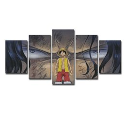 luffy painting Australia - 5 Panel Animated Cartoon One Piece Monkey D. Luffy Modern Home Wall Decor Canvas Picture Art HD Print Painting On Canvas Artwork