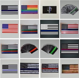 Flags For Cars Windows NZ - New Thin Blue Line Flag Decal - 6.5*11.5 CM American Flag Sticker for Cars and Trucks - Wall Window Stickers Decorative Stickers I240