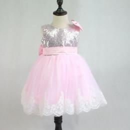 $enCountryForm.capitalKeyWord Australia - Romantic Puffy Pink Tulle Flower Girl Dress for Weddings Sequin Big Bow Ball Gown First Communion Dress Baby Girl Baptism Dress