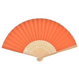 China Free Design Customized Logo Wedding Favors Gift DIY Paper Folding Fans Bride Hand Craft Fan with bamboo ribs Candy Color Blank Drawing Fan suppliers