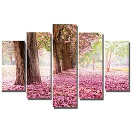 "cartoon stitch UK - wholesale 5D DIY Full Square Diamond Painting ""pink forset tree"" Multi-picture Combination Embroidery Cross Stitch Mosaic Decor"