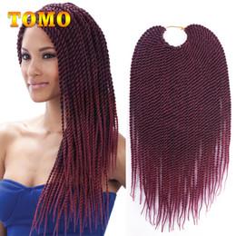 crochet braids 2018 - TOMO Ombre Burgundy Crochet Twist Braids Senegalese Twist Hair Bluk Kanekalon Black Woman Synthetic Braided Hair Extensi