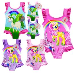 Swimwear Infant Australia - 2018 6 design INS Unicorn Swimwear One Piece Bowknot Swimsuit Bikini Big Kids Summer Cartoon Infant Swim Bathing Suits Beachwear