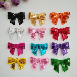 Hair Fall Products Australia - 50pc lot 2.1inch Mix Color dog topknot bows pet hair Clips Sequis Shiny Bowknot Clips dog hair accessories pet grooming product