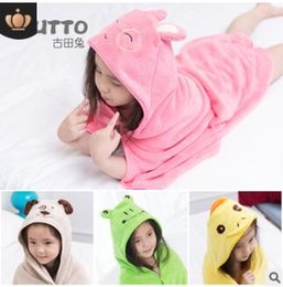Cartoon Towel Dog Australia - Kids animals bath towel cloak childrens cartoon coral plush cloak rabbits pig bee dog cat bear towels christmas present gifts 210