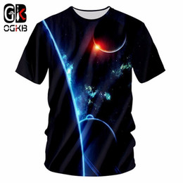 Discount galaxy tees wholesale - OGKB New Men Summer Tops Galaxy Space Printed 3d Tshirt Man Hiphop O Neck T Shirt Casual Breathable T-shirt Plus Size Te