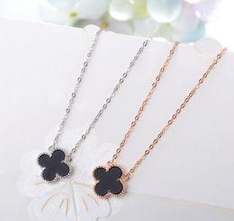 Necklaces Pendants Australia - wholesale Korean wind hot sell S925 pure silver four-leaf blade necklace black agate pendant chain girl