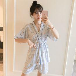 $enCountryForm.capitalKeyWord Canada - Girls Cotton Striped Japanese Kimono Shorts Pajama Sets for Women 2018 Fashion Summer Short Sleeve Pyjama Homewear Home Clothing