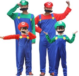 Discount super mario clothing - Mens Womens Halloween Mario Costume Kids Cute Cosplay Clothes Green Red Super Mario Clothing With Hat Free Shipping