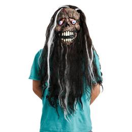 Mask Hair Horror UK - Latex Scary Full Face Mask Long Hair Beard Horrible Eyeball Cosplay Halloween Masks Adult Masquerade Ghost Party For Props