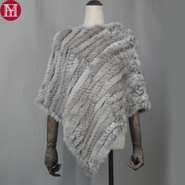 $enCountryForm.capitalKeyWord NZ - 2018 Genuine 100% Real Knitted Rabbit Fur Poncho Women Rabbit Fur Pashmina Wrap Party Pullover Real Fur Scarf Wholesale Retail S18101904