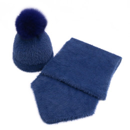 Winter Vintage Imitation Mink Fur Kids Hat Scarf Set Solid baby Beanies Caps  Scarves Girl Hats suit With Fox Fur Ball feb559595109