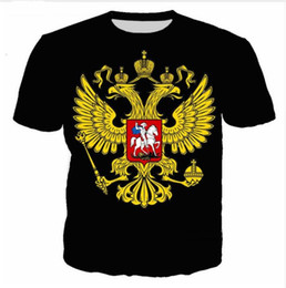 Wholesale-New Fashion Mens / Womens Sommer Stil Wappen von Russland Lustige 3D Print Casual T-Shirt DX008