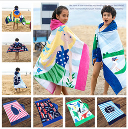 Discount kids embroidered towels - Large Beach bathrobe Kids Robes cartoon animal shark Nightgown Children Towels Hooded bathrobes 14 styles LC879