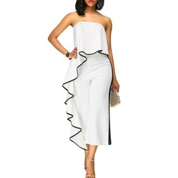 ebe25839e8c Sexy Womens Off Shoulder Jumpsuit Summer Contrast Trim Strapless Backless Overalls  for women Wide Leg Playsuit Rompers Red White