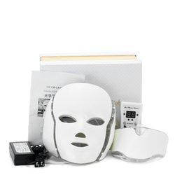 Опт Горячая PDT Light Therapy Антивозрастное Омоложение Кожи Led Шеи Маска Для Лица с 7 цветов для Домашнего Использования Бесплатная Доставка