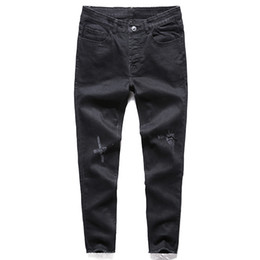 Korean hot pant online shopping - New Men s Jeans Ripped Holes Pants Korean Style Influx Black Casual Trousers Cool Stretch Man Pants Spring And Summer Hot Sale