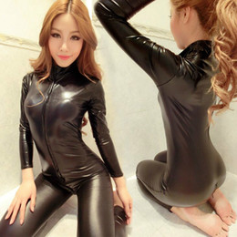 $enCountryForm.capitalKeyWord UK - New Women Jumpsuit Spandex Sexy Black Cat Latex Catsuit Costumes Girls Body Suits Fetish Leather Dress Girl Cosplay Lingeries C18111601