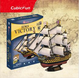 Discount 3d papers models - T4049H Hms Victory Ship Model CubicFun 3D puzzle Diy Paper Model assembling model children adults creative birthday gift