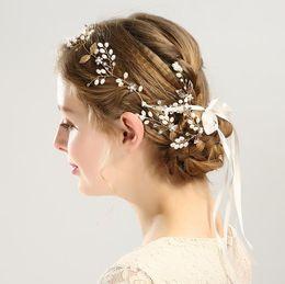 Pearl Gold Hair NZ - Pearl leaf hair with handmade gold hairpin hoop Set Bridal headwear hair ornament