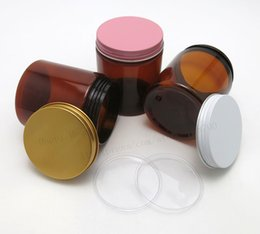 $enCountryForm.capitalKeyWord Australia - 24pcs lot 250g Amber PET jars seal metal screw lids 250cc Empty cream cosmetic bottle