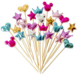 $enCountryForm.capitalKeyWord Australia - Fast shipping 5 pcs lot lovely heart star crown cake topper for birthday cupcake flag baby shower party wedding decoration supplies SN1459