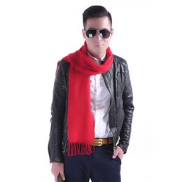 Men's Scarves Klv New Fashion Mens Scarf Winter Warm Solid Color Cashmere Casual Long Soft Neck Scarf Black,gray,red,navy,dark Grey Z1009