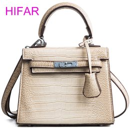 Discount small hasp lock - 2018women hand bag crocodile pattern pu leather shoulder bag high quality handbags fashion small Lock Embossed green top