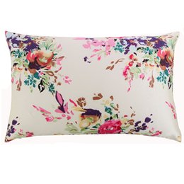 China New Free Shipping 100 %Nature Mulberry Floral luxury Silk bed Pillowcase Zipper Pillowcases Pillow Case For Healthy Queen size cheap bedding for queen size beds suppliers