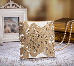 Discount lace invitation card designs - 50 pieces lot Design Flower Lace Laser Cut Wedding Invitations Brown elegant Bow Ribbons Decoration Cards Invite Customi