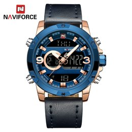 $enCountryForm.capitalKeyWord Canada - NAVIFORCE Mens Digital Watches Top Brand Luxury Outdoor LED Watch Blue Leather Japanese Quartz Chronograph Man Wristwatches