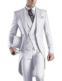 Wholesale white wedding tuxedo worn black man for sale - Group buy Morning Style White Tailcoat Groom Tuxedos Eiegant Men Wedding Wear High Quality Men Formal Prom Party Blazer Jacket Pants Tie Vest