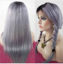 Wig Grey Australia - 8A Grade Hair Wig Brazilian Glueless Full Lace Wigs #1b Grey Ombre silky straight Human Hair Lace Front Wigs Black Women