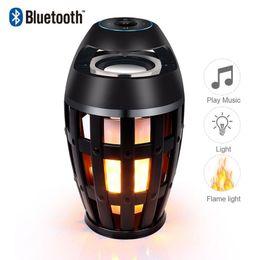 Speaker Face NZ - Led Flame Table Light Lamp Bluetooth Speaker Outdoor Portable Stereo Speaker Atmosphere Light USB Charging with 96LED Flickers Dancing Light